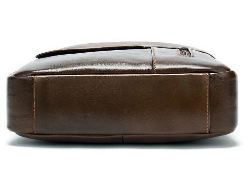 Коричневая вертикальная кожаная сумка Tiding Bag 8578C - Фото № 6