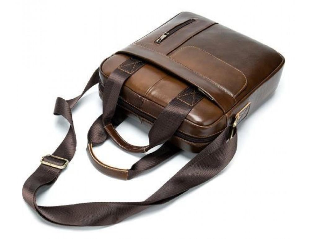 Коричневая вертикальная кожаная сумка Tiding Bag 8578C - Фото № 7