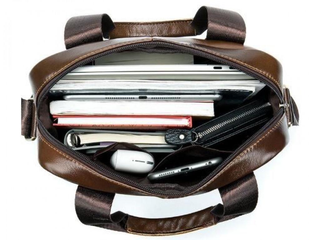 Коричневая вертикальная кожаная сумка Tiding Bag 8578C - Фото № 8