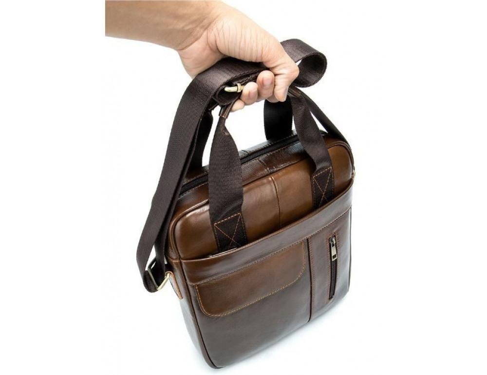 Коричневая вертикальная кожаная сумка Tiding Bag 8578C - Фото № 9