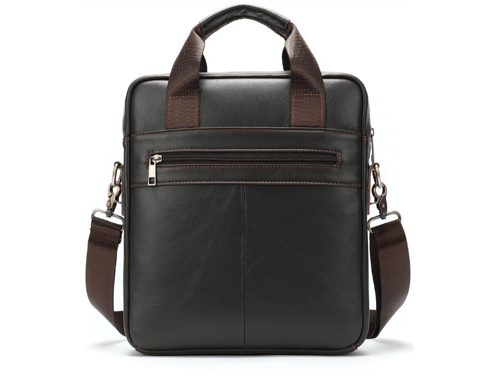 Тёмно-коричневая вертикальная кожаная сумка через плечо Tiding Bag 8567DB - Фото № 2