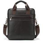 Тёмно-коричневая вертикальная кожаная сумка через плечо Tiding Bag 8567DB - Фото № 101