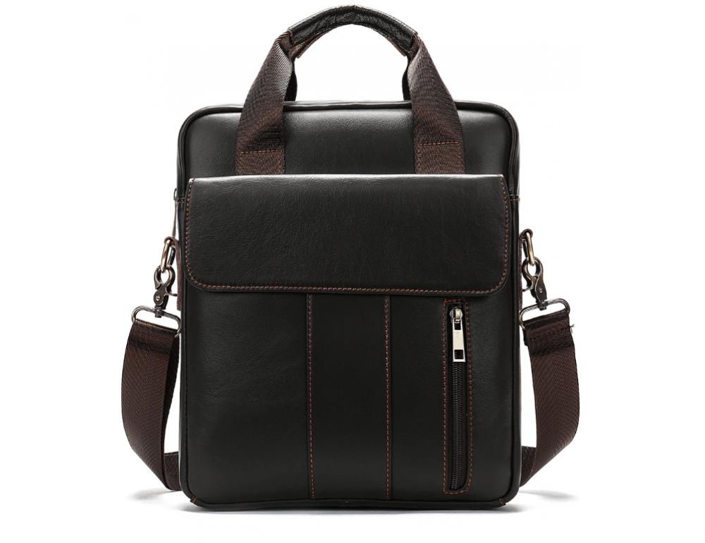 Тёмно-коричневая вертикальная кожаная сумка через плечо Tiding Bag 8567DB - Фото № 1