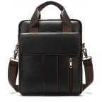 Тёмно-коричневая вертикальная кожаная сумка через плечо Tiding Bag 8567DB - Фото № 100