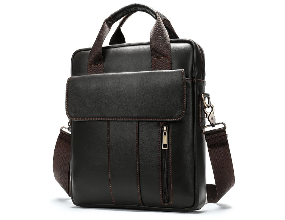 Тёмно-коричневая вертикальная кожаная сумка через плечо Tiding Bag 8567DB - Фото № 3