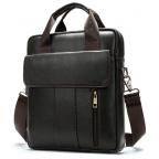 Тёмно-коричневая вертикальная кожаная сумка через плечо Tiding Bag 8567DB - Фото № 102