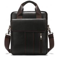 Тёмно-коричневая вертикальная кожаная сумка через плечо Tiding Bag 8567DB