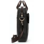 Тёмно-коричневая вертикальная кожаная сумка через плечо Tiding Bag 8567DB - Фото № 103