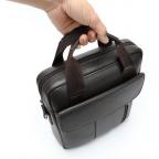 Тёмно-коричневая вертикальная кожаная сумка через плечо Tiding Bag 8567DB - Фото № 104