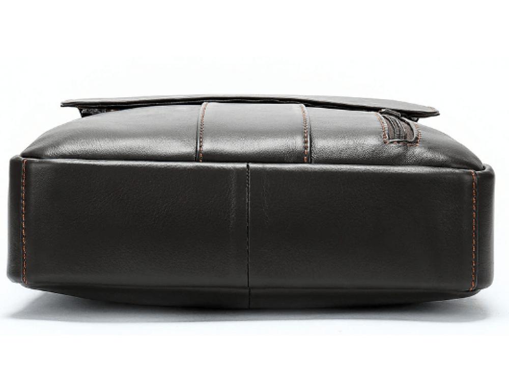 Тёмно-коричневая вертикальная кожаная сумка через плечо Tiding Bag 8567DB - Фото № 6