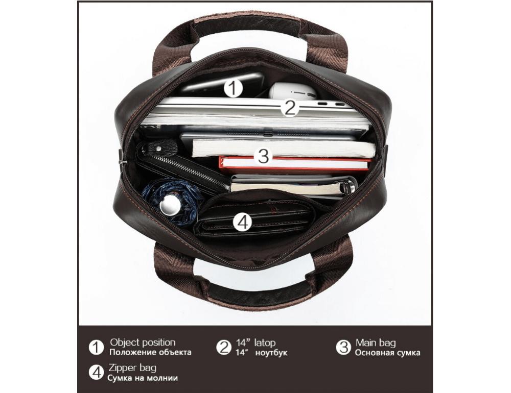 Тёмно-коричневая вертикальная кожаная сумка через плечо Tiding Bag 8567DB - Фото № 7