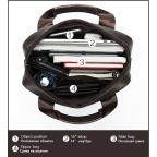 Тёмно-коричневая вертикальная кожаная сумка через плечо Tiding Bag 8567DB - Фото № 106