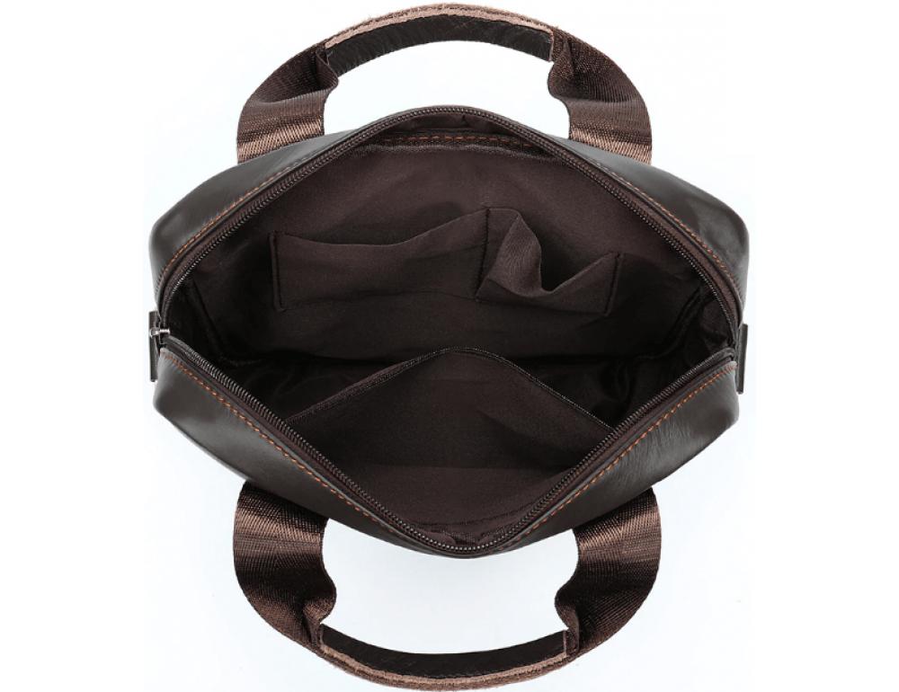 Тёмно-коричневая вертикальная кожаная сумка через плечо Tiding Bag 8567DB - Фото № 8