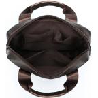 Тёмно-коричневая вертикальная кожаная сумка через плечо Tiding Bag 8567DB - Фото № 107
