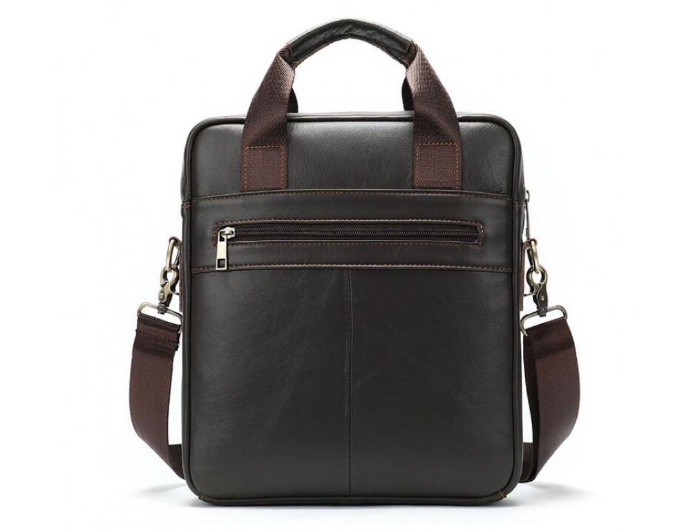 Тёмно-коричневая мужская кожаная сумка A4 Tiding Bag 8568B - Фото № 2