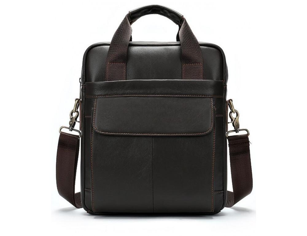 Тёмно-коричневая мужская кожаная сумка A4 Tiding Bag 8568B - Фото № 1