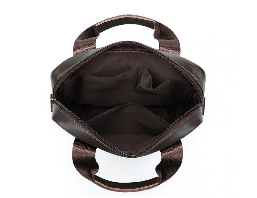 Тёмно-коричневая мужская кожаная сумка A4 Tiding Bag 8568B - Фото № 3