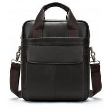 Тёмно-коричневая мужская кожаная сумка A4 Tiding Bag 8568B