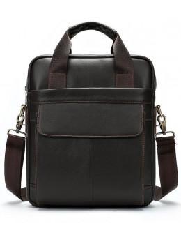 Темно-коричнева чоловіча шкіряна сумка A4 Tiding Bag 8568B