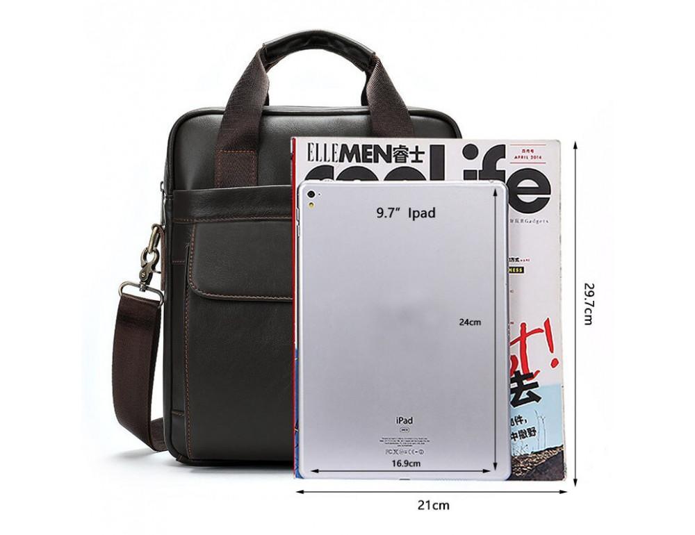 Тёмно-коричневая мужская кожаная сумка A4 Tiding Bag 8568B - Фото № 4