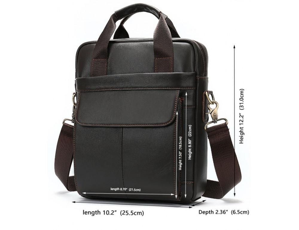 Тёмно-коричневая мужская кожаная сумка A4 Tiding Bag 8568B - Фото № 5