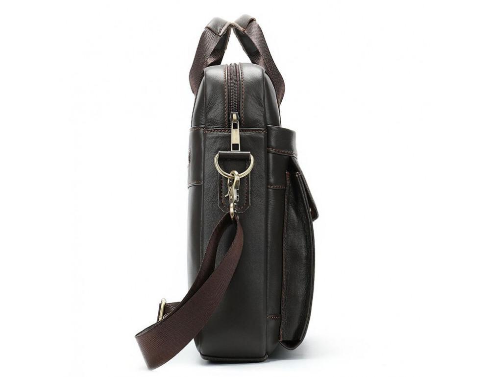 Тёмно-коричневая мужская кожаная сумка A4 Tiding Bag 8568B - Фото № 6