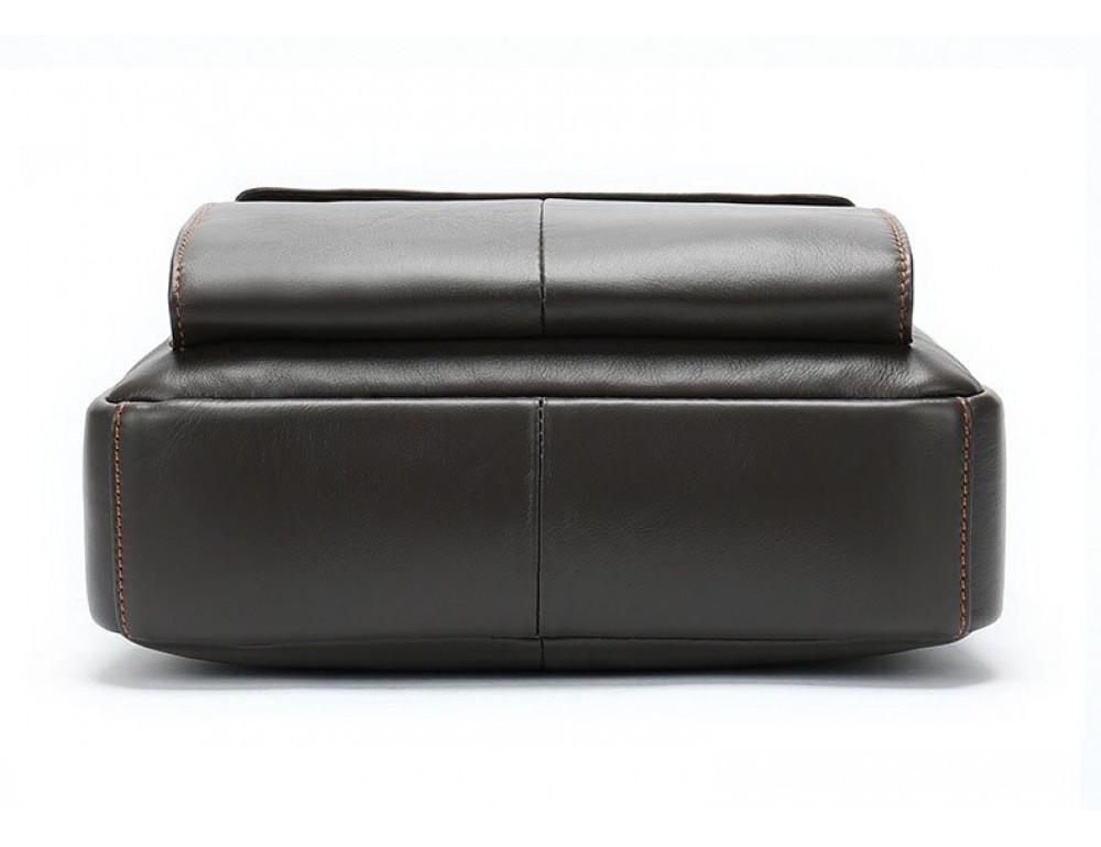 Тёмно-коричневая мужская кожаная сумка A4 Tiding Bag 8568B - Фото № 7