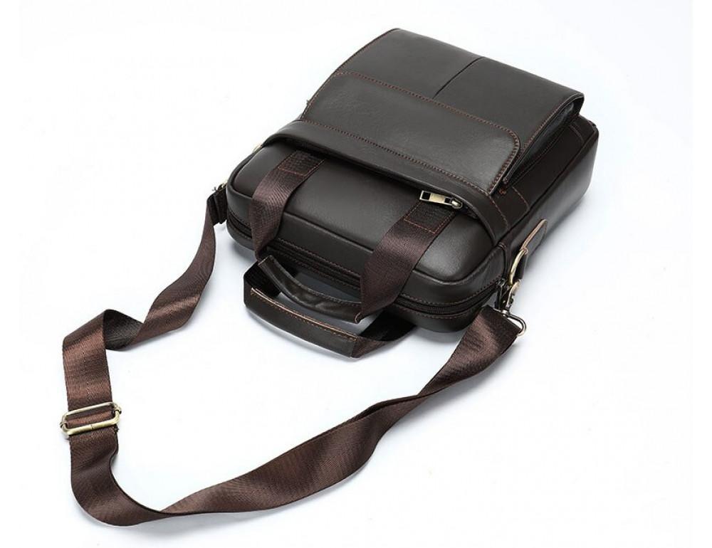 Тёмно-коричневая мужская кожаная сумка A4 Tiding Bag 8568B - Фото № 8