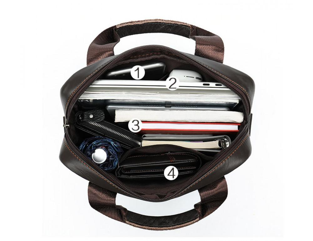 Тёмно-коричневая мужская кожаная сумка A4 Tiding Bag 8568B - Фото № 9