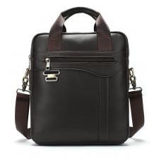 Тёмно-коричневая мужская кожаная сумка A4 Tiding Bag 8569J