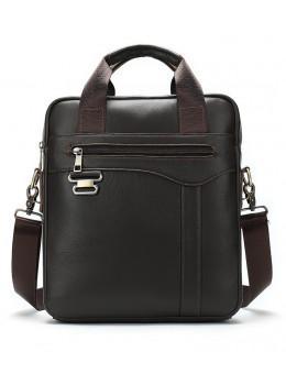 Темно-коричнева чоловіча шкіряна сумка A4 Tiding Bag 8569J