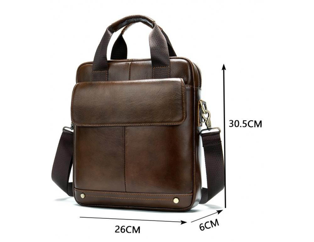 Коричневая кожаная сумка через плечо Tiding Bag 8579C - Фото № 3