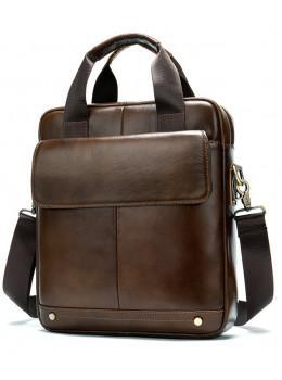 Коричневая кожаная сумка через плечо Tiding Bag 8579C
