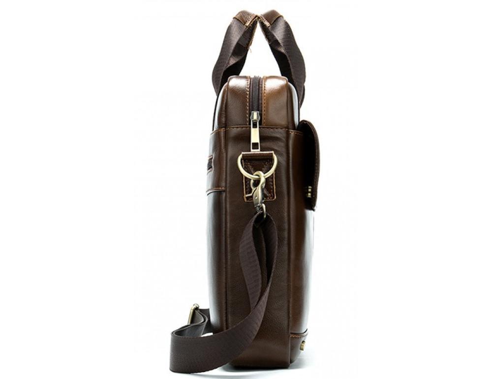 Коричневая кожаная сумка через плечо Tiding Bag 8579C - Фото № 4