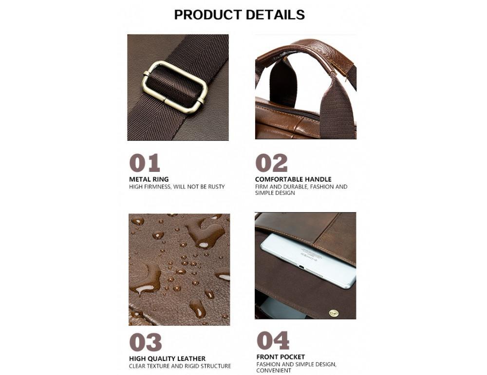 Коричневая кожаная сумка через плечо Tiding Bag 8579C - Фото № 6