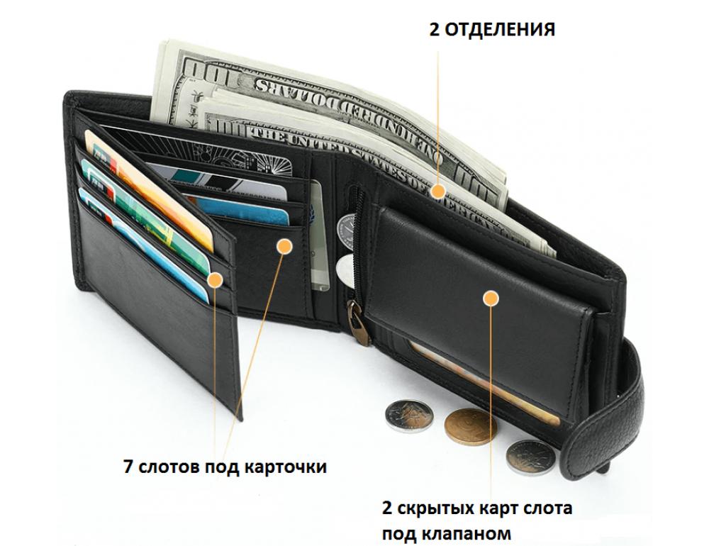 Мужской кожаный кошелек JASPER MAINE 8617A - Фото № 2