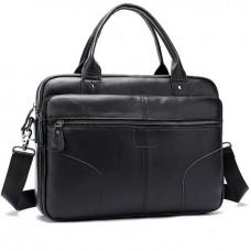 Чёрная кожаная сумка под ноутбук Tiding Bag 8626A