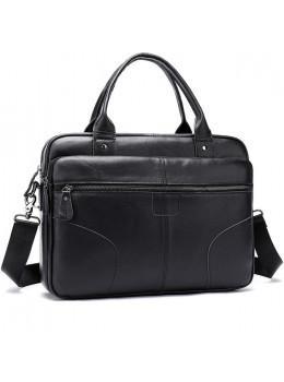 Чорна шкіряна сумка під ноутбук Tiding Bag 8626A