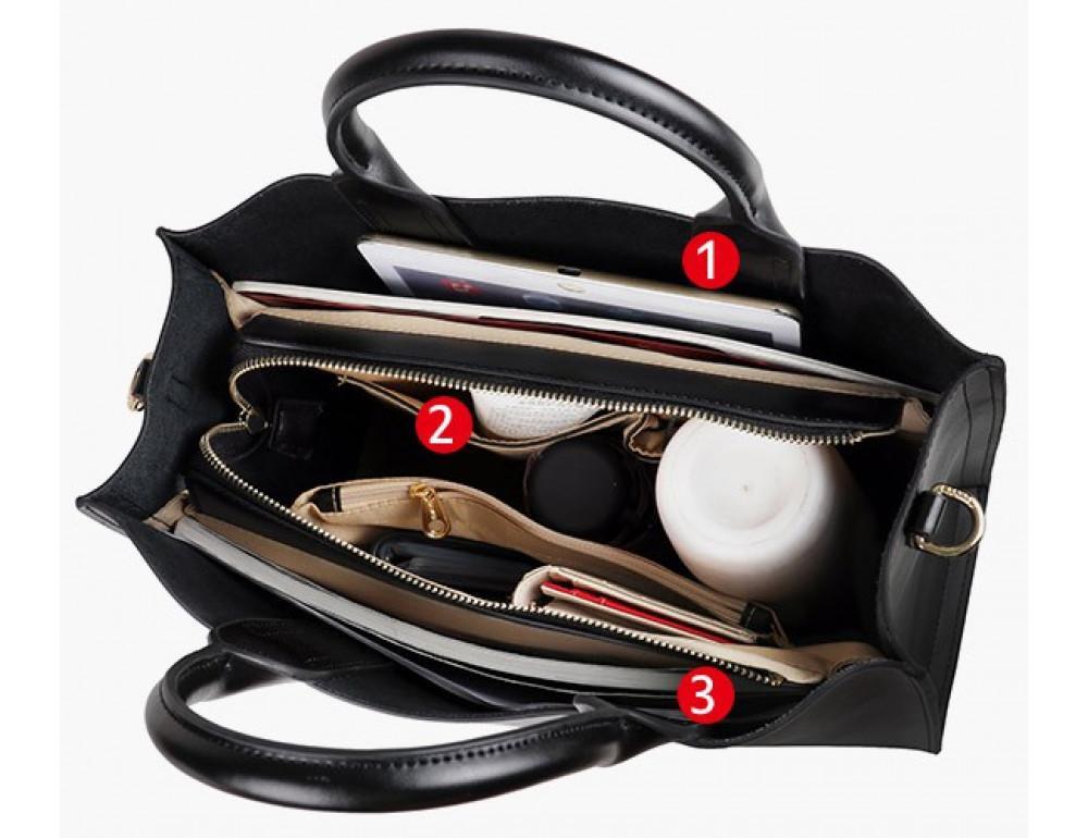Кожаная сумка Grays 8644A Чёрная - Фото № 3