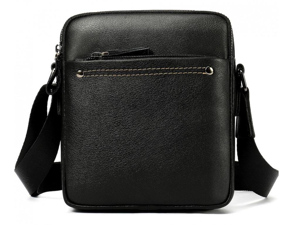 Чёрная мужская кожаная маленькая сумка Tiding Bag 8715A - Фото № 1