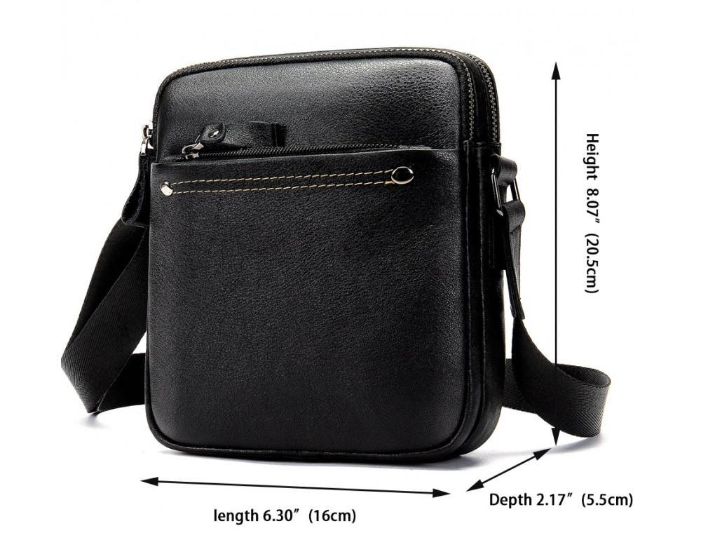 Чёрная мужская кожаная маленькая сумка Tiding Bag 8715A - Фото № 3