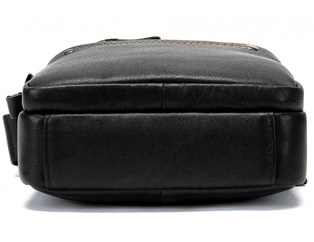 Чёрная мужская кожаная маленькая сумка Tiding Bag 8715A - Фото № 5