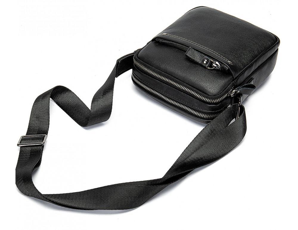 Чёрная мужская кожаная маленькая сумка Tiding Bag 8715A - Фото № 6
