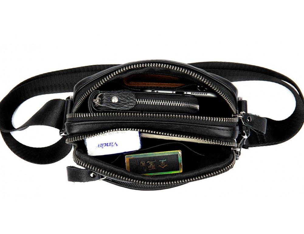 Чёрная мужская кожаная маленькая сумка Tiding Bag 8715A - Фото № 7