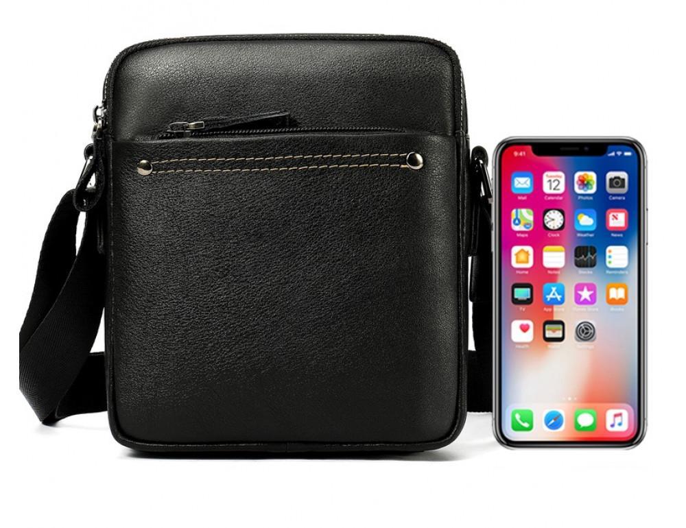 Чёрная мужская кожаная маленькая сумка Tiding Bag 8715A - Фото № 8