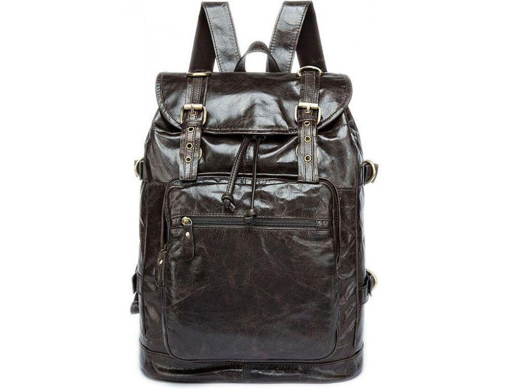 Серо-коричневый кожаный рюкзак JASPER MAINE 8818BG - Фото № 5