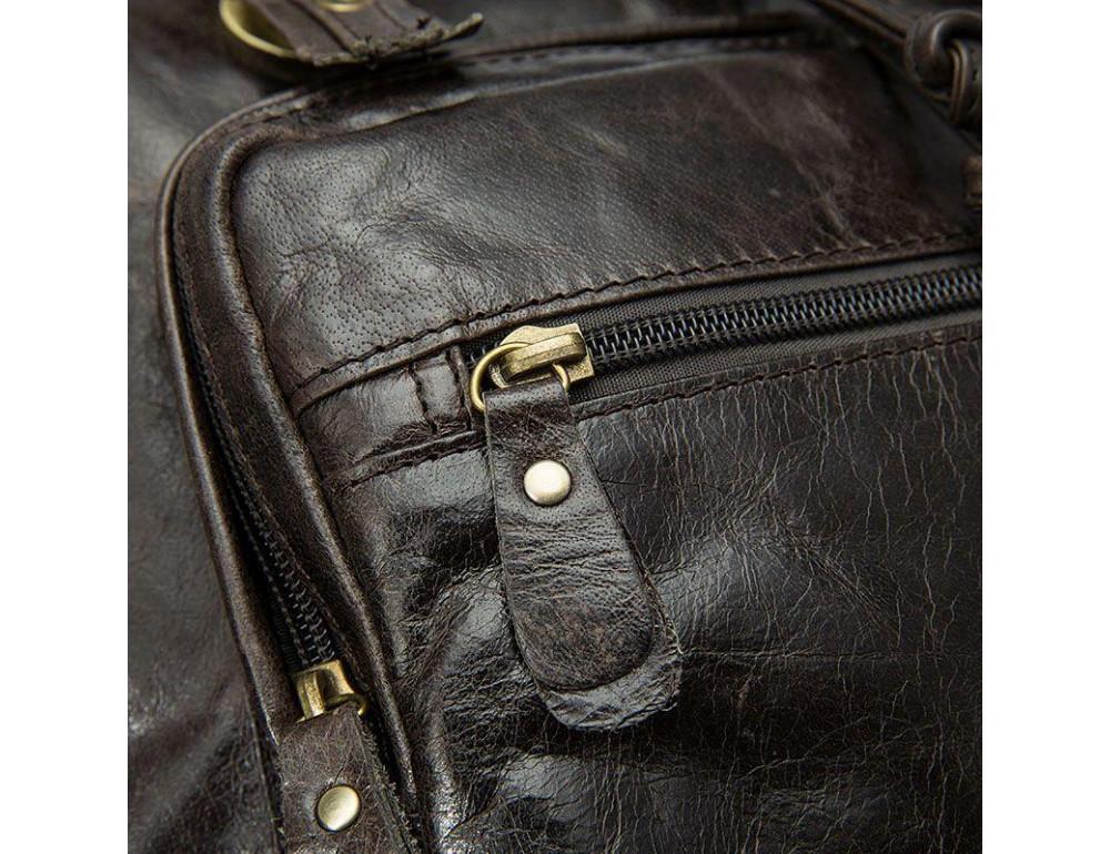 Серо-коричневый кожаный рюкзак JASPER MAINE 8818BG - Фото № 11