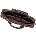 Тёмно-коричневый кожаный портфель Tiding Bag 8841C - Фото № 101