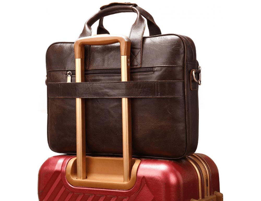 Тёмно-коричневый кожаный портфель Tiding Bag 8841C - Фото № 3
