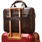 Тёмно-коричневый кожаный портфель Tiding Bag 8841C - Фото № 102